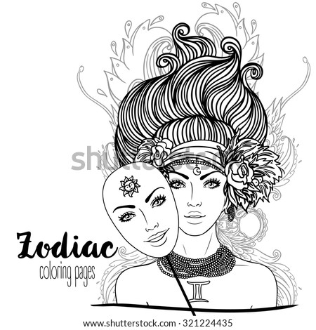 Zodiac: Illustration of Gemini zodiac sign as a beautiful girl. Vector. Black and white zodiac drawing isolated on white. Design for zodiac coloring book page for adults and kids.