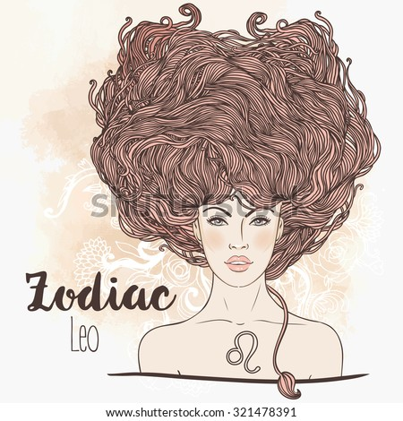 Zodiac: Illustration of Leo astrological sign as a beautiful girl. Vector art.  Vintage boho style fashion illustration. Design for coloring book page for adults and kids. - stock vector