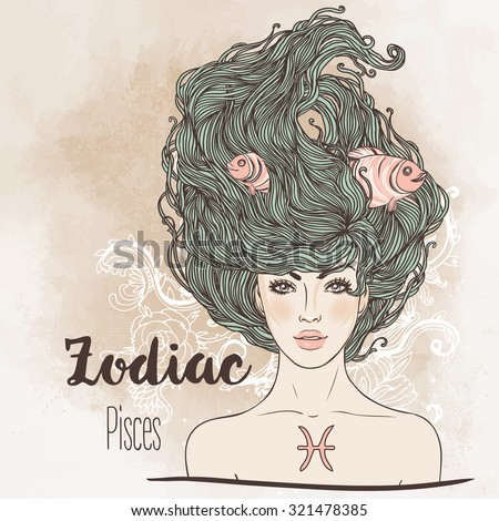 Zodiac: Illustration of Pisces zodiac sign as a beautiful girl. Vector zodiac.  Vintage boho style fashion illustration. Design for zodiac coloring book page for adults and kids. - stock vector