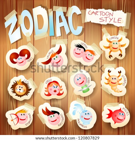 Zodiac on wooden background, vector illustration in cartoon style - stock vector