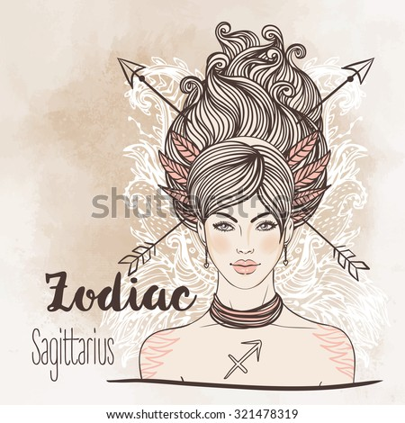 Zodiac: Sagittarius astrological sign as a beautiful girl. Vector illustration. Vintage boho style fashion illustration. Design for coloring book page for adults and kids. - stock vector