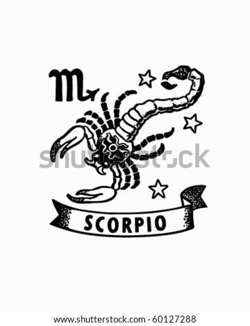 Zodiac - Scorpio - Retro Clip Art - stock vector