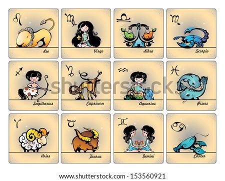Zodiac. Set of horoscope symbols. - stock vector
