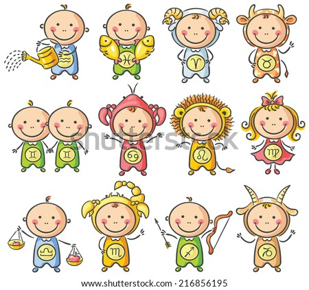 Zodiac sighns as little kids - stock vector