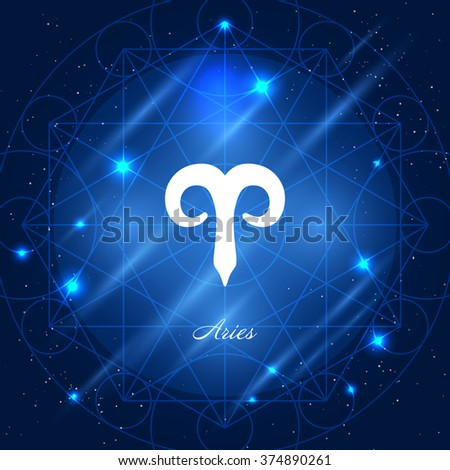 Zodiac sign aries. Vector space background with geometric ornament - stock vector