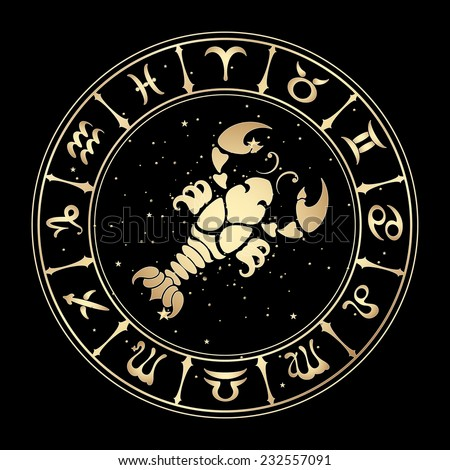 zodiac sign Cancer on a black background , vector illustration