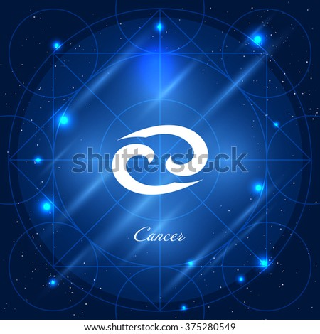 Zodiac sign cancer. Vector space background with geometric ornament - stock vector