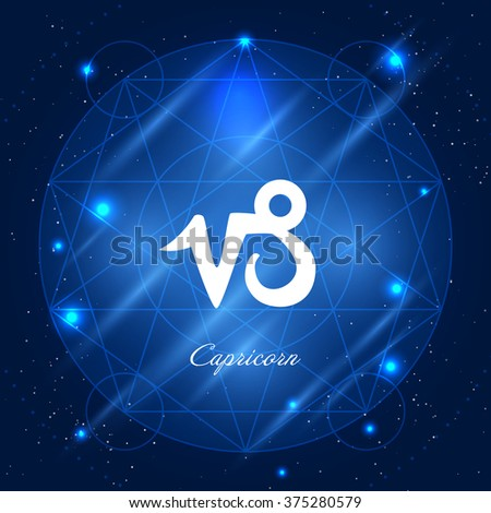Zodiac sign capricorn. Vector space background with geometric ornament - stock vector