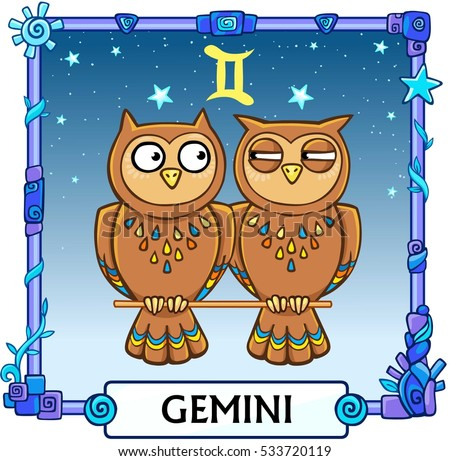 Zodiac sign Gemini. Fantastic animation animal. A background - the star sky, a decorative frame. Vector illustration.