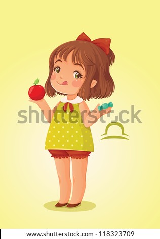 Zodiac sign libra. Cute little girl wants to eat candy instead of apple. - stock vector