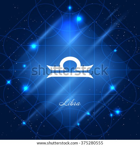 Zodiac sign libra. Vector space background with geometric ornament - stock vector