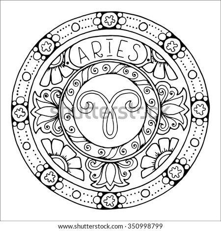 Zodiac sign of aries and constellation in mandala with ethnic pattern. Set of black and white icon. Horoscope and zodiacal template. Can be used for magazine, coloring book. Hand drawn doodle circle. - stock vector