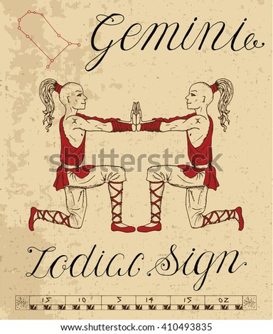 Zodiac sign of Gemini or Twins with constellation. Line art vector illustration of engraved horoscope symbol. Doodle mystic drawing and hand drawn astrology sketch with calligraphic lettering - stock vector