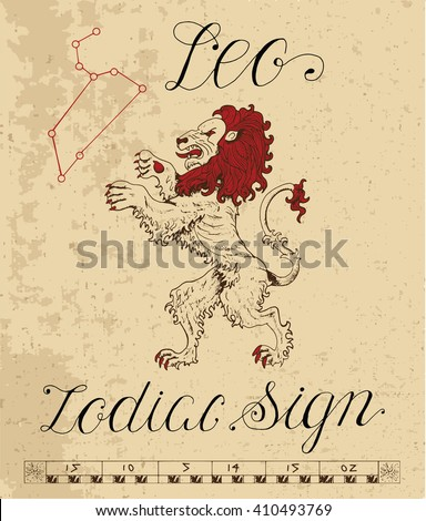 Zodiac sign of Leo or Lion with constellation. Line art vector illustration of engraved horoscope symbol. Doodle mystic drawing and hand drawn astrology sketch with calligraphic lettering - stock vector