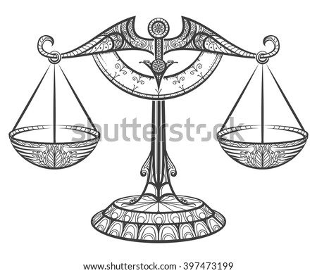 zodiac sign of libra drawn in zentangle style vector illustration