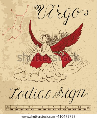 Zodiac sign of Virgo or Virgin with constellation. Line art vector illustration of engraved horoscope symbol. Doodle mystic drawing and hand drawn astrology sketch with calligraphic lettering - stock vector