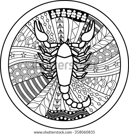 Zodiac sign Scorpio. Vector illustration of abstract zodiac sign for talismans, textile prints, tattoo