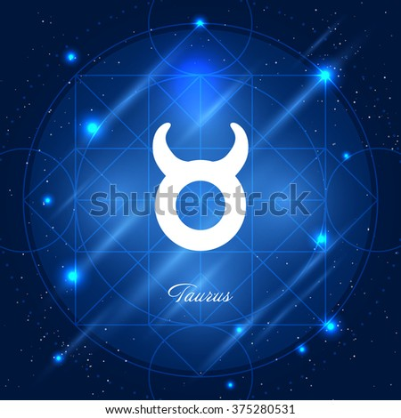 Zodiac sign taurus. Vector space background with geometric ornament - stock vector