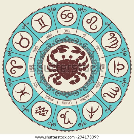 Zodiac sign. Zodiac icons. Freehand drawing. Cancer.  - stock vector