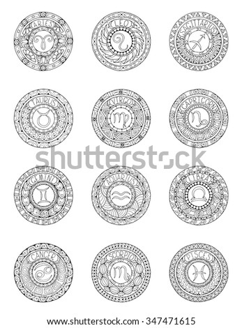 Zodiac signs and constellations in mandala with ethnic pattern. Set of black and white icons. Horoscopes and zodiacal infographics template. can used for adult and kids coloring book. - stock vector