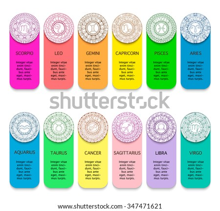 Zodiac signs and constellations in mandala with ethnic pattern. Set of black and white icons. Horoscopes and zodiacal infographics template.  - stock vector