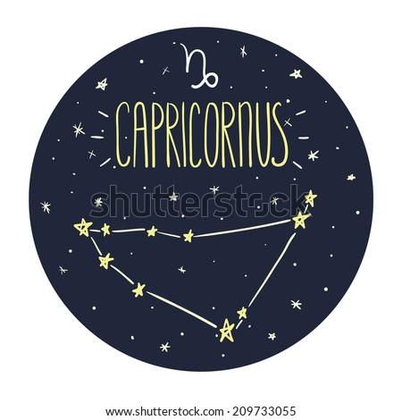 Zodiac signs doodle set - Capricorn - stock vector