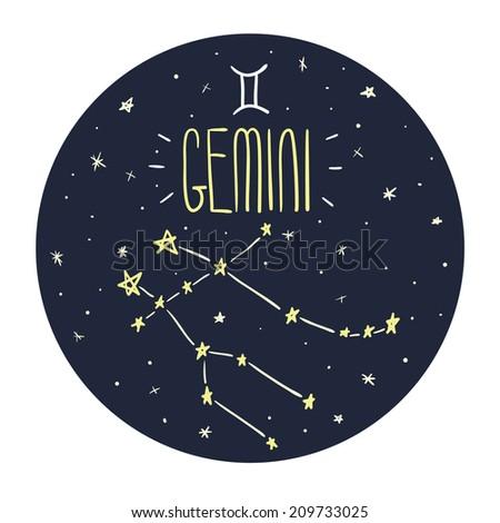 Zodiac signs doodle set - Gemini - stock vector