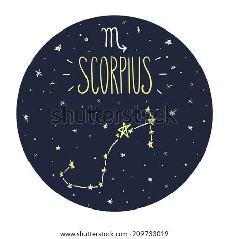 Zodiac signs doodle set - Scorpius - stock vector