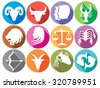 zodiac signs flat buttons (set of horoscope symbols, astrology icons set) - stock vector