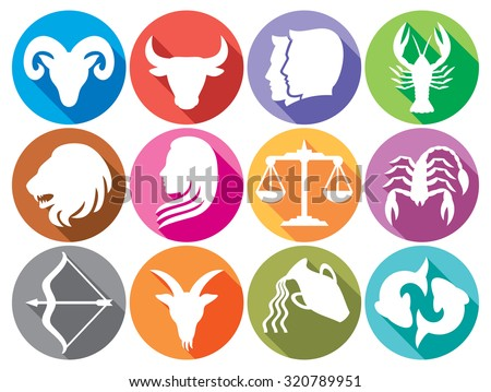 zodiac signs flat buttons (zodiac sign silhouettes, stylized icons of zodiac signs, set of horoscope symbols, astrology symbols set) - stock vector