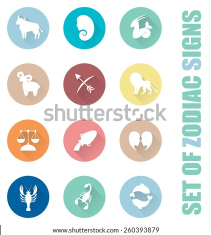 Zodiac signs icon set. Flat illustrations with trendy colors. - stock vector