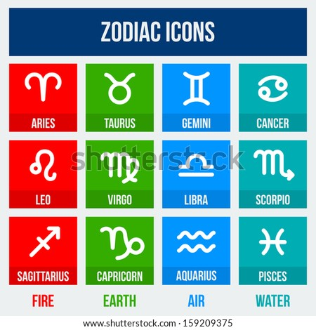 Zodiac signs in flat style. Set of colorful square icons.  Vector illustration. - stock vector