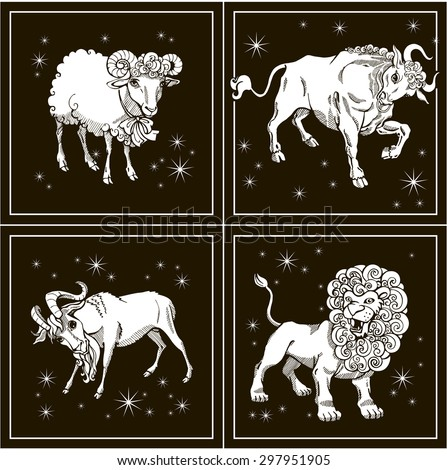 Zodiac signs. Leo. Taurus. Capricorn. Aries. Vector illustration. White silhouette. Black background.  - stock vector