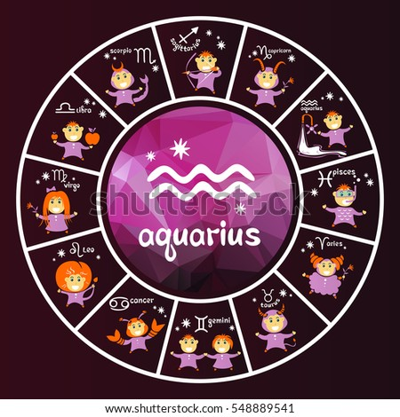 Zodiac signs vector set isolated on purple background. Cartoon funny characters. Design elements for calendars or cards.