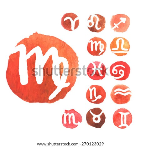 Zodiac signs. watercolor zodiac signs. love horoscope.female  horoscope. Set of simple round zodiac icons. Zodiac Symbol icons on color background. Vector illustration. - stock vector