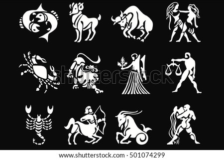 Zodiac signs white on a black background, horoscope