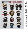Zodiac signs with cute black ninja characters, vector - stock vector