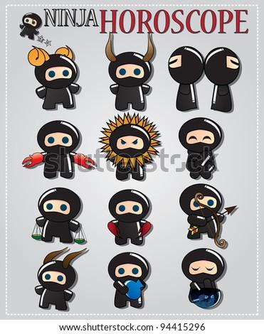 Zodiac signs with cute black ninja characters, vector - stock vector
