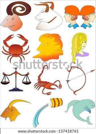 zodiac signs (zodiac - colorful vector, set of zodiac signs buttons, stylized icons of zodiac signs, set of horoscope symbols, astrology symbols set) - stock vector