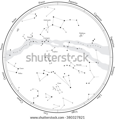 Zodiac star map with constellations, isolated on white. Milky way and stars. - stock vector