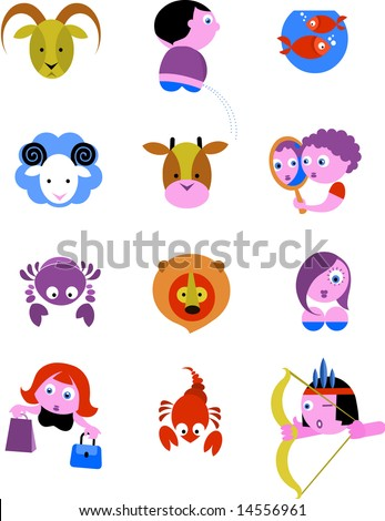 Zodiac Star Signs / icons - vector ilustration - stock vector