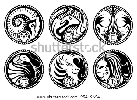 Zodiac symbols. Black&white rounded stylized zodiac icons. - stock vector