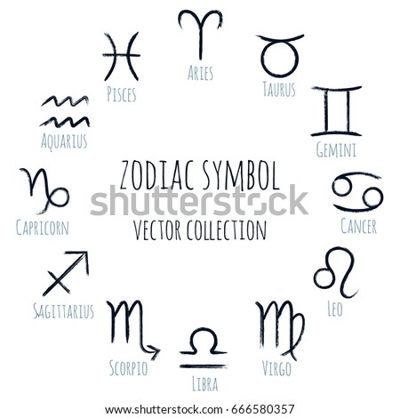Zodiac Symbols Ring Vector Set Collection Stock Vector Royalty Free