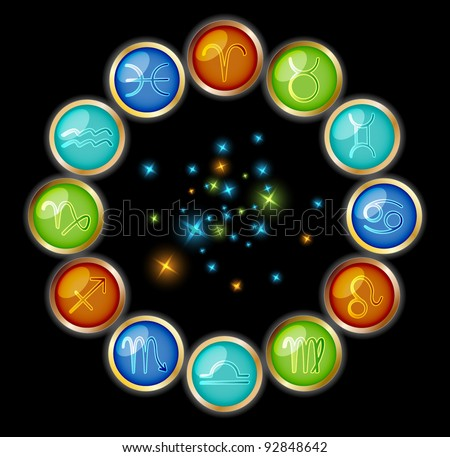 Zodiac symbols with starry light - stock vector
