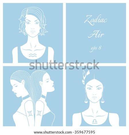 Zodiac. Vector illustration of Libra, gemini and aquarius. Isolated on light blue background.  - stock vector