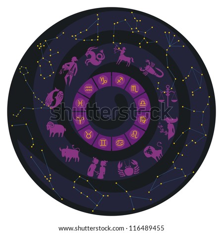 Zodiac wheel with constellations and symbols - stock vector