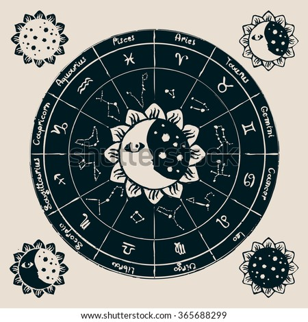 zodiac with the sun, moon and constellations - stock vector