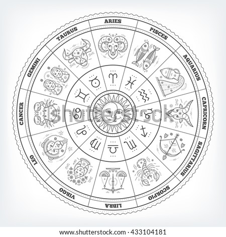 Zodiacal circle with astrology signs. Vector design element isolated on white background. - stock vector