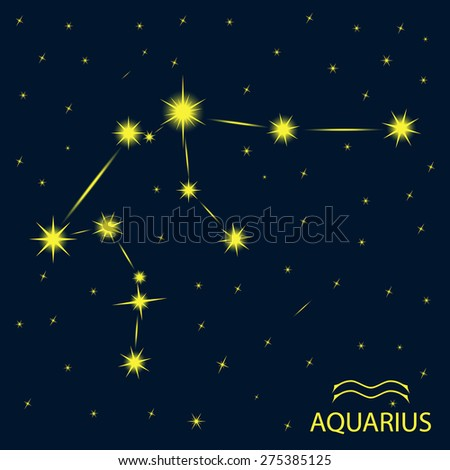 Zodiacal constellations  AQUARIUS. - stock vector