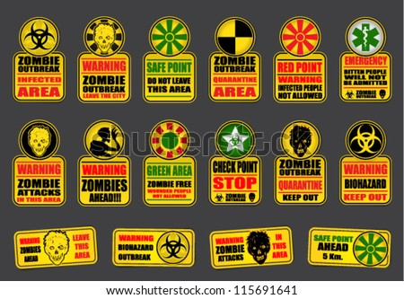 Zombie Apocalypse Signs - stock vector